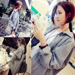 韓国シャツ❤ちょっとワイドにカッコよく着て♪ストライプシャツ