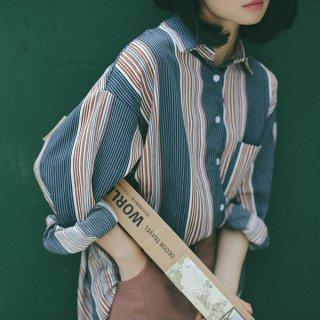 韓国トップス❤ストライプ 大きいビッグシルエットのシャツ♪