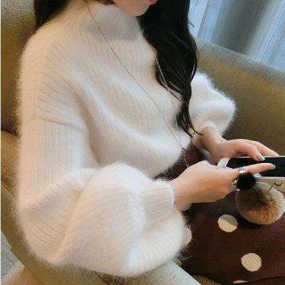 韓国ニット❤ふわふわで気持ちいい♪袖がふんわり優しい感じのモヘアニット