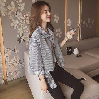 韓国ジャケット❤ショート丈 シャツ ストライプ 襟あり 長袖 前開き カジュアル 秋春