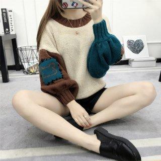 韓国ニットトップス❤ふんわり袖のクマちゃんがキュート♪ニットトップス