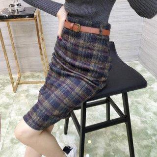 韓国タイトスカート❤秋色チェックでおしゃれに♪タイトスカート