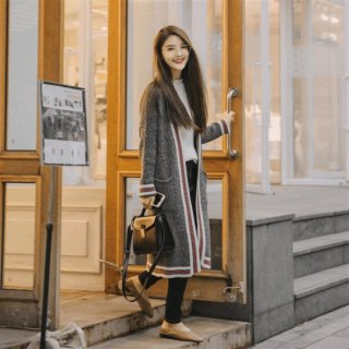 韓国ロングカーディガン❤ラインが入ったようなデザインでカジュアルに着て♪ロングカーディガン