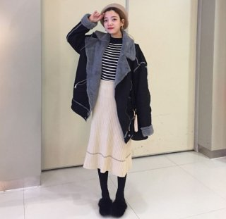 韓国ニットスカート❤細身のシルエットとストライプでスラッと見える♪ニットスカート