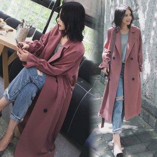 韓国トレンチコート❤袖の絞りがポイント♪長めトレンチコート