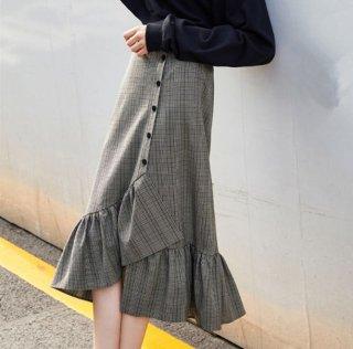 韓国フィッシュテールスカート❤グレンチェックだから甘くなり過ぎない♪フィッシュテールスカート