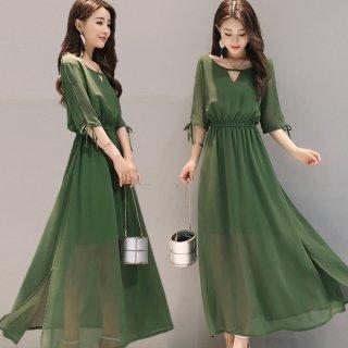 韓国ワンピース❤透け感と胸元がチラリと見えるデザインがプチセクシー♪ワンピース