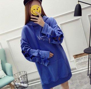 韓国パーカー❤袖の編み上げがオシャレ♪パーカー