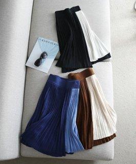 韓国ニットスカート❤バイカラーで秋のオシャレに♪プリーツスカート