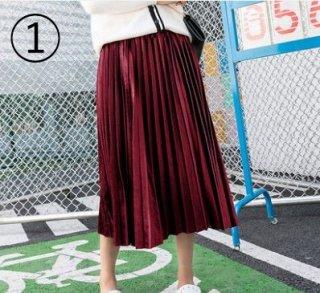韓国プリーツスカート❤細かなプリーツで上品♪ミモレ丈スカート