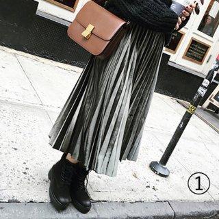 韓国プリーツスカート❤ベルベットの光沢感がオシャレに見える♪ミモレ丈スカート