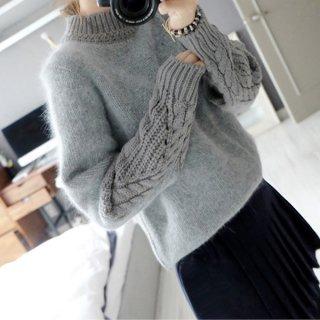 韓国ニットトップス❤首元と袖、背中の編み方が違うからオシャレ♪デザインニット