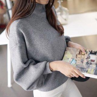 韓国ハイネックニット❤シンプルデザインに袖のふんわり感が大人♪ニットトップス