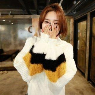 韓国ハイネックニット❤袖ふんわりとファーが可愛い♪ニットトップス
