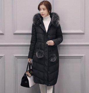 韓国ダウンコート❤ファーとボンボンがふわふわで大人可愛い♪ファー付きコート