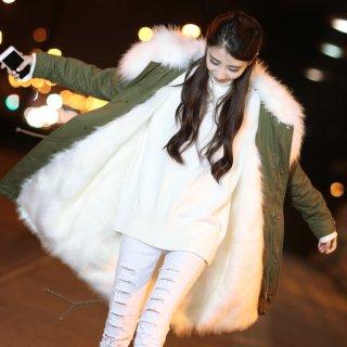 韓国ミリタリーコート❤大きなファーがインパクト大!取り外し出来るファー付きコート