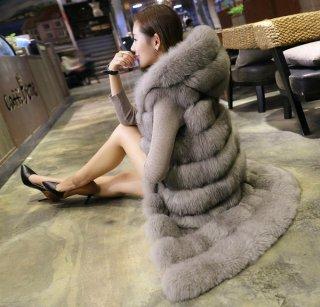 韓国ファーベスト❤フードから裾までファーでゴージャス♪ロングベスト