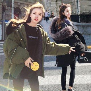 韓国ミリタリーコート❤大きなファーがボリューム満点♪ファーフードコート