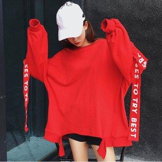 韓国トレーナー❤ビックサイズでゆるく着られる♪袖のデザインがインパクト大!ワイドトップス