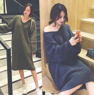 韓国ニットワンピース❤Vネックでゆったり着られる♪女性らしいニットワンピース