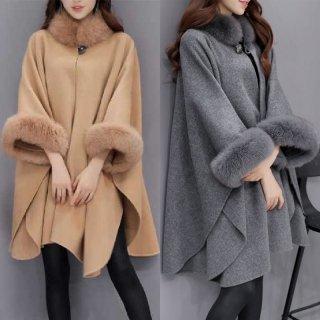 韓国ポンチョ❤襟と袖のふぁーがエレガントな大人なデザイン♪ポンチョコート