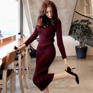 韓国ニットワンピ❤シンプルだけどリブニットで着やすいデザイン♪ハイネックワンピース