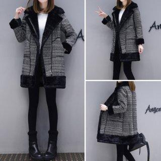 韓国コート❤ふわふわのファーが襟や袖にもあってぬくぬく♪チェック柄が可愛いファーコート