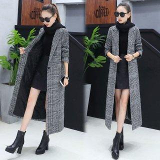 韓国コート❤流行のグレンチェックがオシャレ♪ロング丈チェスターコート