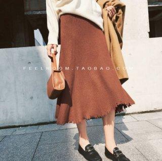 韓国スカート❤少しフレアになってるのが綺麗なシルエットに♪ミモレ丈ニットスカート