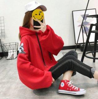 韓国パーカー❤シンプルだけど動物柄プリントが個性的♪ビックシルエットパーカー