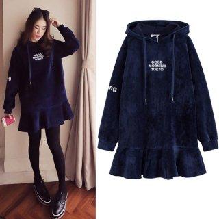韓国ワンピース❤裾はフレアでAラインが可愛い♪フード付きワンピース