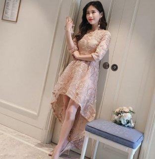 韓国ドレス❤リボンで描かれたデザインが綺麗♪フィッシュテールで脚長効果も♪七分袖ドレス