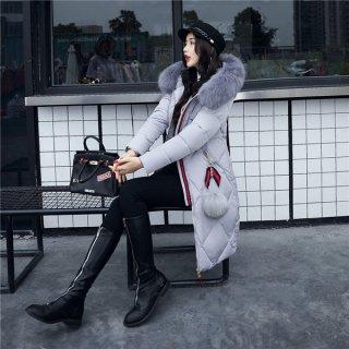 韓国コート❤Aラインのシルエットが女性らしい♪ファーのボンボンがカワイイダウンコート