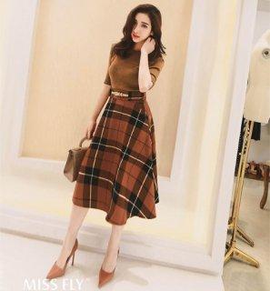 韓国スカート❤綺麗に広がるフレアが素敵♪チェック柄が上品に大人可愛い♪フレアスカート