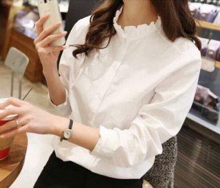 韓国ブラウス❤襟に注目!ベーシックな長袖のあると使えるシャツです!