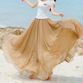 韓国スカート❤色豊富 リゾートにぴったり❤マキシ丈ウエストゴムのスカート♪
