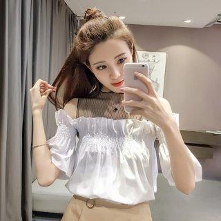 韓国ブラウス❤オフショルダー❤ネットがあるからズレない超可愛いシフォン半袖シャツ♪