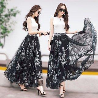 韓国スカート❤ 花柄マキシ丈スカート シフォンでさわやか!リゾートにぴったりのスカートです♪