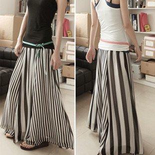 韓国スカート❤ マキシ丈 モノトーンで使いやすいゆったりストライプスカート♪