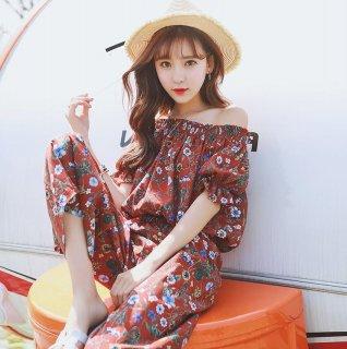 韓国オールインサン❤オフショルダー 花柄 半袖 長ズボン サロペット 韓国ファッション