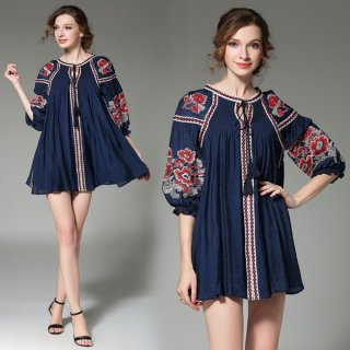 韓国ワンピース❤トップス 刺繍とタッセルがエスニック感あり♪ミニ丈ワンピース