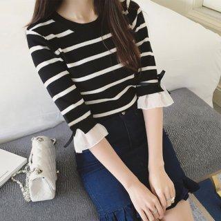 韓国トップス❤袖のフレアとリボンが可愛い♪七分袖ボーダートップス