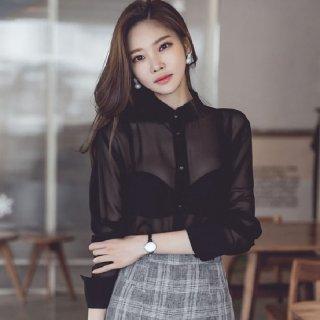 韓国トップス❤ブラウス シャツのような上品さありシースルーブラウス
