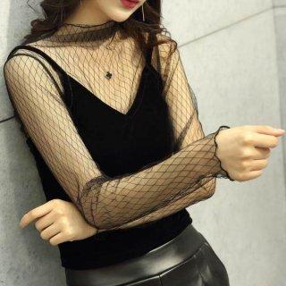 韓国トップス❤キャミソールと選べる総レースのブラックセクシーセットなブラウス