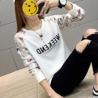 韓国トップス❤腕の透けシースルー柄がイカす長袖Tシャツ!