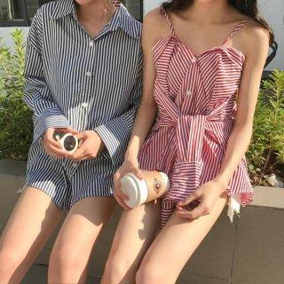 韓国トップス❤ブラウス あれ!キャミソールですか?シャツですか?と変身できるストライプの大人気シャツ!