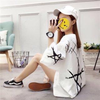韓国トップス❤Tシャツ 背中のスターとダボダボ感が素敵な原宿系Tシャツ