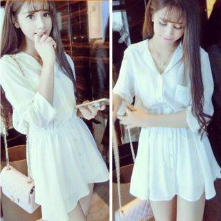 韓国ワンピース❤可愛い純白のミニフレアなシャツワンピ