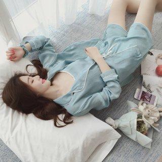 韓国ルームウエア?パジャマ 心地よい眠りを!!長袖・長ズボン・キャミソール・短パン・ヘアバンド2種・ポーチと7点セット!