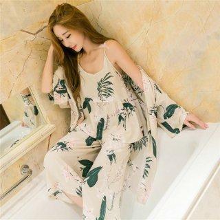 韓国ルームウエア♥パジャマ ガウン・キャミソール・ワイドパンツ さわやかな雰囲気の可愛い部屋着!